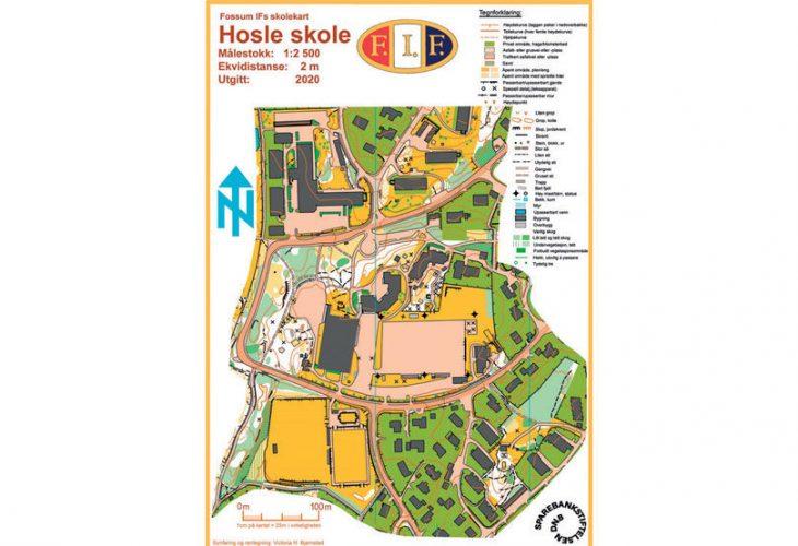UNGDOMSLØYPE: Hosle skole er et av kartene ungdommer i Fossum har tegnet. Ask Felland Sætnan har tegnet denne løypa til elevene der han gikk på barneskolen.