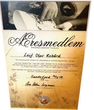 ÆRESMEDLEM: I 2017 ble Leif O. Rebård utnevnt til æresmedlem i Sandefjord OK.